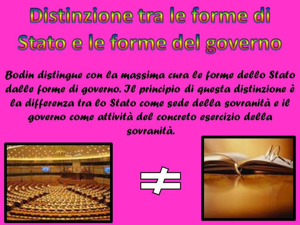 Bodin distingue con la massima cura le forme dello Stato dalle forme di governo. Il principio di questa distinzione è la differenza tra lo Stato come