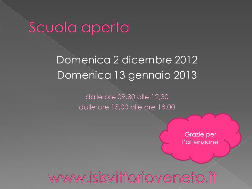 Domenica 2 dicembre 2012 Domenica 13 gennaio 2013 dalle ore 09,30 alle 12,30 dalle ore 15,00 alle ore 18,00 Grazie per lattenzione