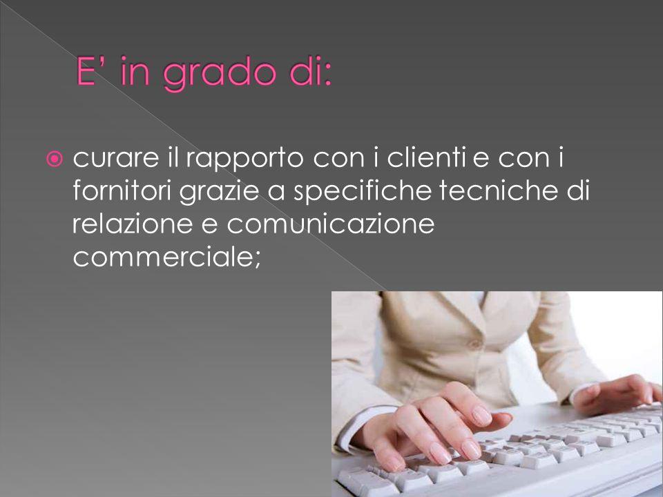 comunicare in almeno due lingue con una corretta utilizzazione della terminologia di settore;