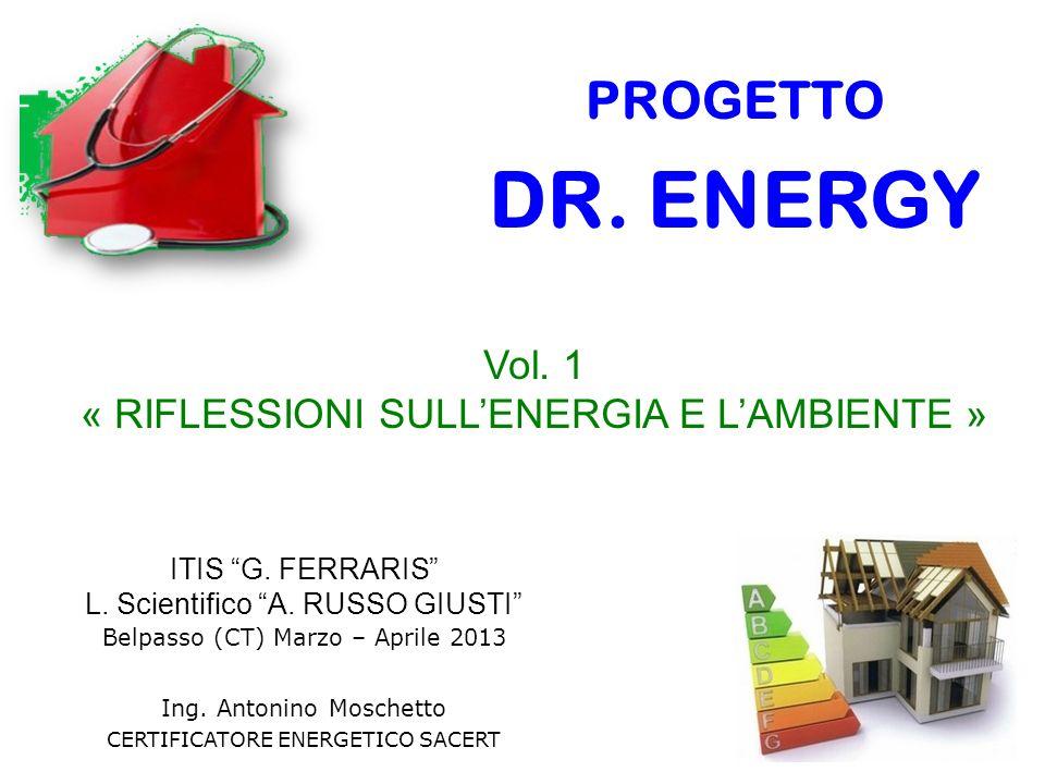ITIS G. FERRARIS L. Scientifico A. RUSSO GIUSTI Belpasso (CT) Marzo – Aprile 2013 Ing. Antonino Moschetto CERTIFICATORE ENERGETICO SACERT PROGETTO DR.