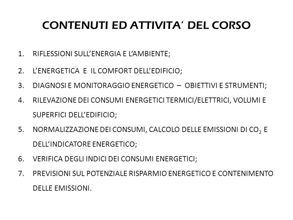CONTENUTI ED ATTIVITA DEL CORSO 1. RIFLESSIONI SULLENERGIA E LAMBIENTE; 2.LENERGETICA E IL COMFORT DELLEDIFICIO; 3.DIAGNOSI E MONITORAGGIO ENERGETICO