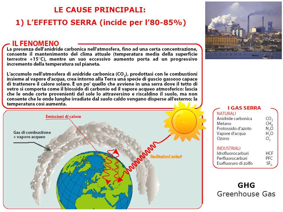 LE CAUSE PRINCIPALI: 1) LEFFETTO SERRA (incide per l80-85%) GHG Greenhouse Gas