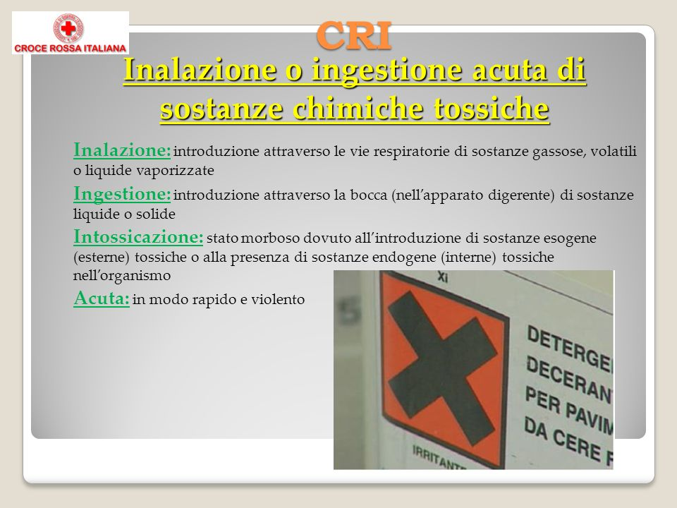 Inalazione: introduzione attraverso le vie respiratorie di sostanze gassose, volatili o liquide vaporizzate Ingestione: introduzione attraverso la boc