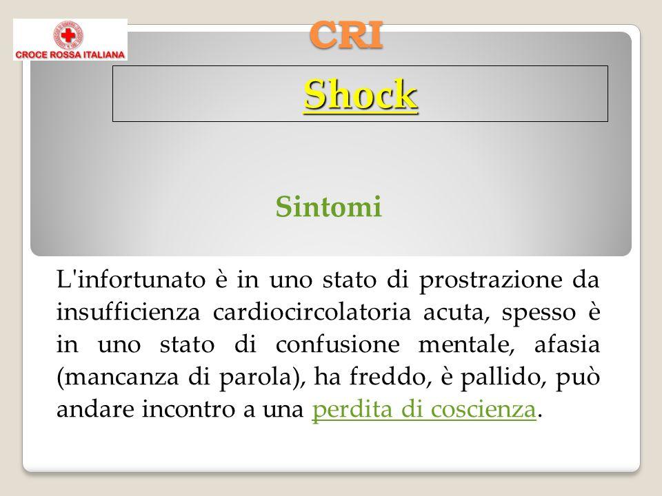 CRI Shock Sintomi L infortunato è in uno stato di prostrazione da insufficienza cardiocircolatoria acuta, spesso è in uno stato di confusione mentale, afasia (mancanza di parola), ha freddo, è pallido, può andare incontro a una perdita di coscienza.perdita di coscienza