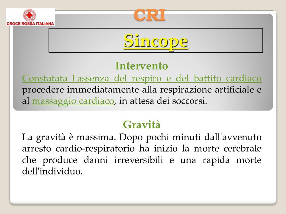CRI Sincope Intervento Constatata l'assenza del respiro e del battito cardiaco procedere immediatamente alla respirazione artificiale e al massaggio c