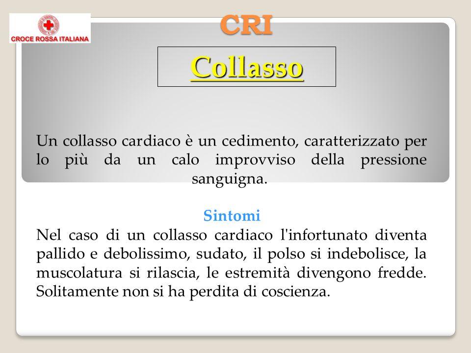 CRI Collasso Un collasso cardiaco è un cedimento, caratterizzato per lo più da un calo improvviso della pressione sanguigna. Sintomi Nel caso di un co
