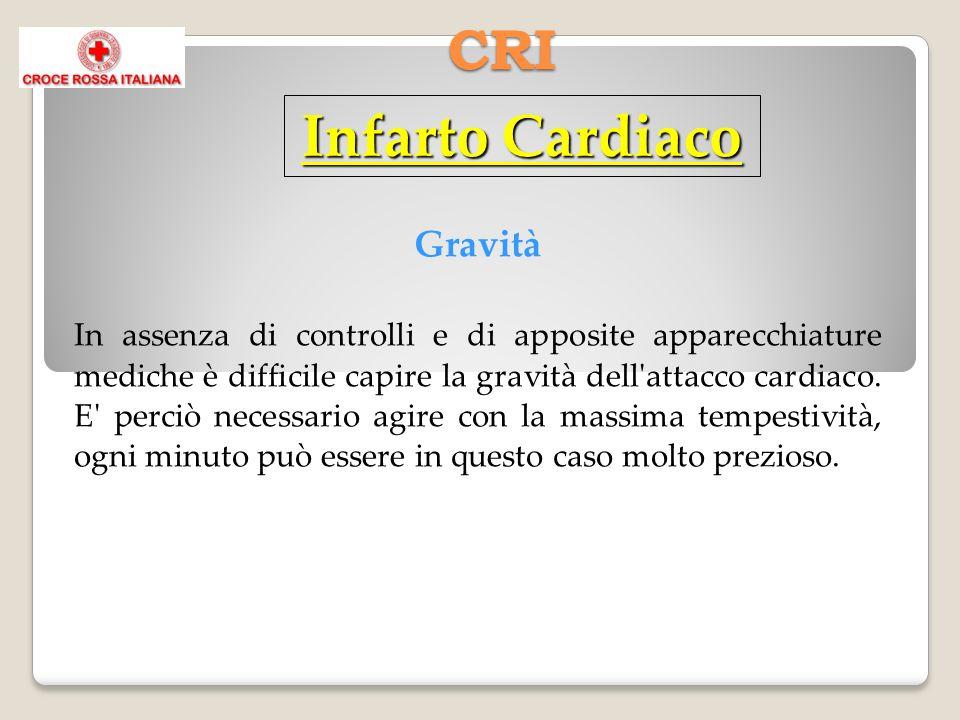 CRI Gravità In assenza di controlli e di apposite apparecchiature mediche è difficile capire la gravità dell'attacco cardiaco. E' perciò necessario ag