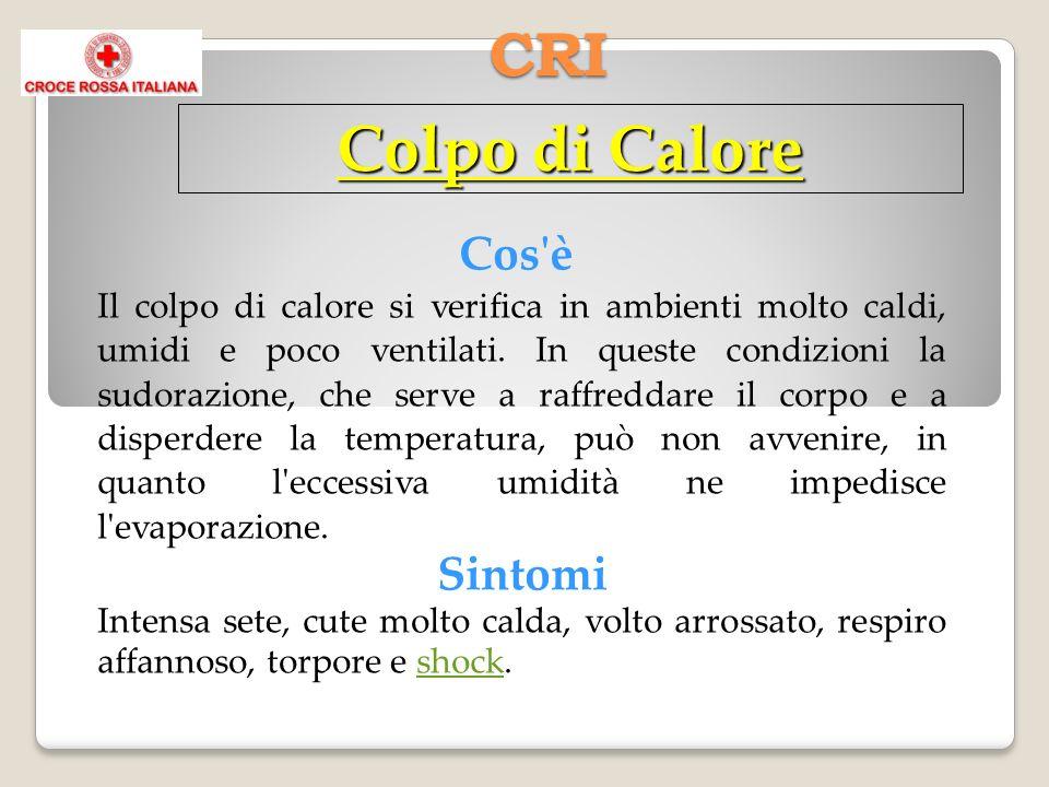 CRI Cos'è Il colpo di calore si verifica in ambienti molto caldi, umidi e poco ventilati. In queste condizioni la sudorazione, che serve a raffreddare