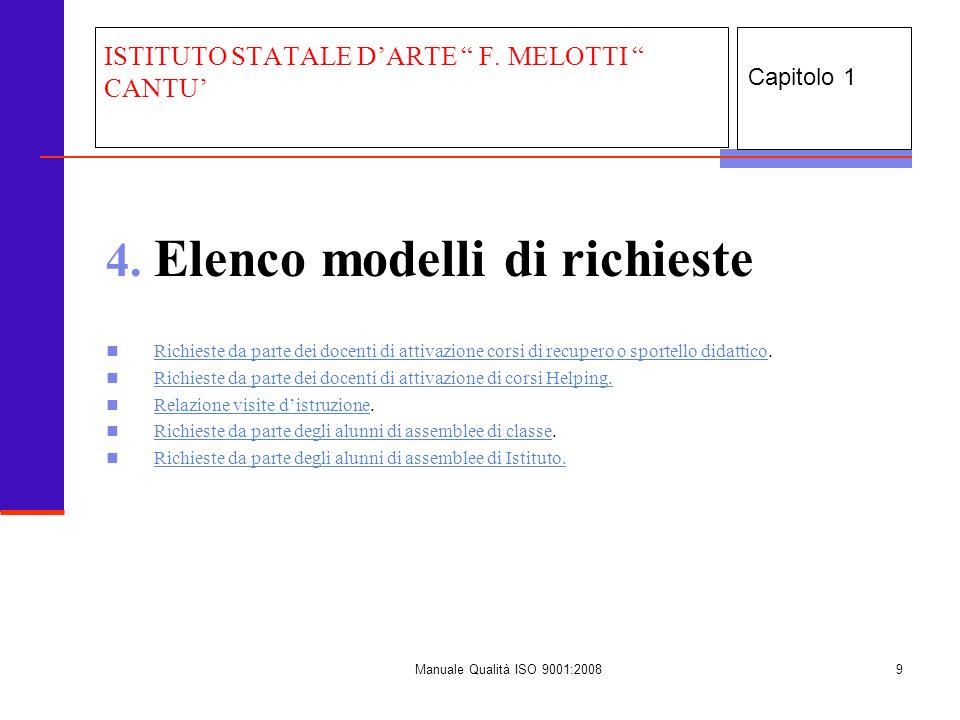 Manuale Qualità ISO 9001:20089 4. Elenco modelli di richieste Richieste da parte dei docenti di attivazione corsi di recupero o sportello didattico. R