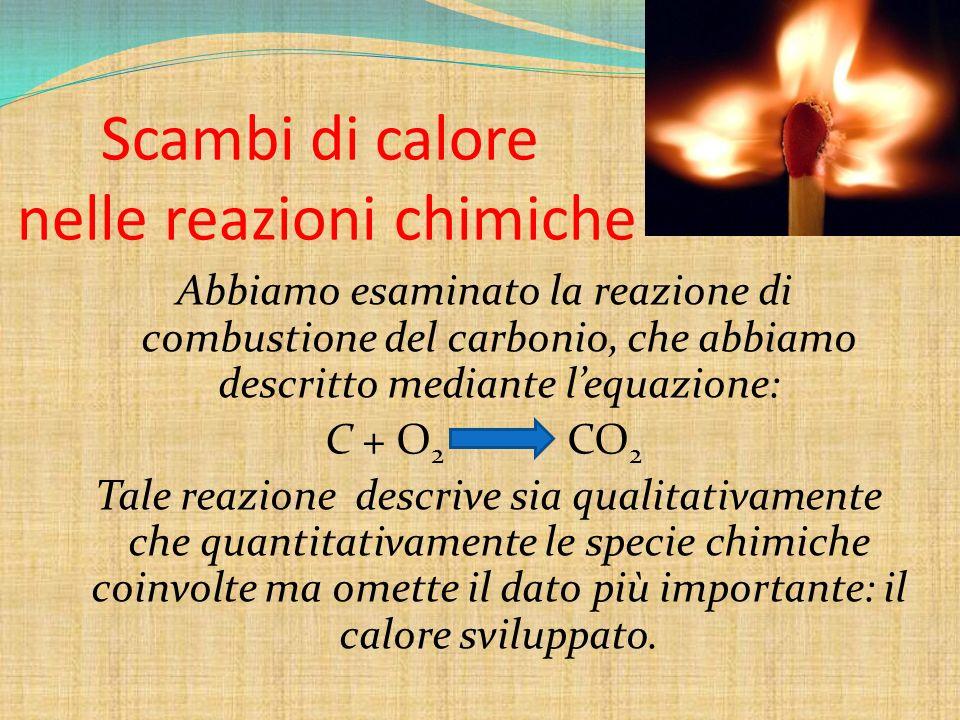 Scambi di calore nelle reazioni chimiche Abbiamo esaminato la reazione di combustione del carbonio, che abbiamo descritto mediante lequazione: C + O 2
