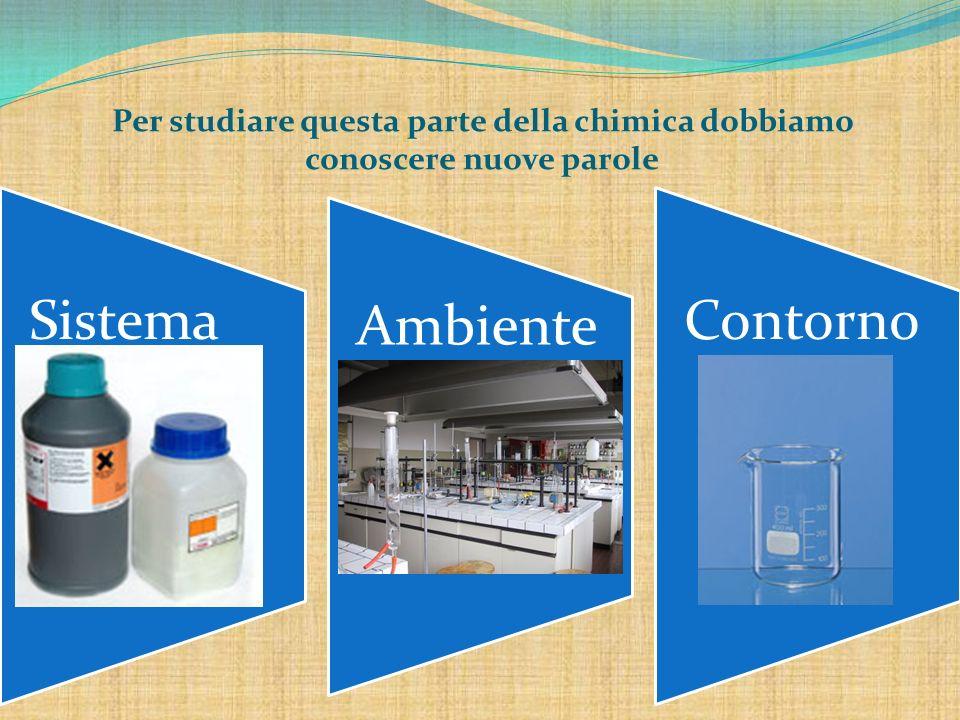 SISTEMA: parte del mondo fisico oggetto del nostro studio (tutte le sostanze coinvolte nella reazione chimica, cioè sia i reagenti che i prodotti).