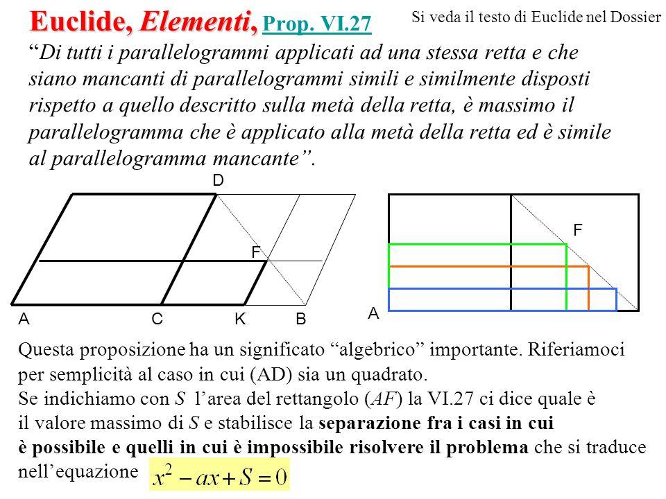 Euclide, Elementi, Euclide, Elementi, Prop. VI.27Di tutti i parallelogrammi applicati ad una stessa retta e che siano mancanti di parallelogrammi simi