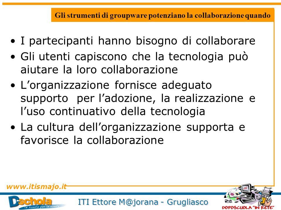 www.itismajo.it ITI Ettore M@jorana - Grugliasco Gli strumenti di groupware potenziano la collaborazione quando I partecipanti hanno bisogno di collab
