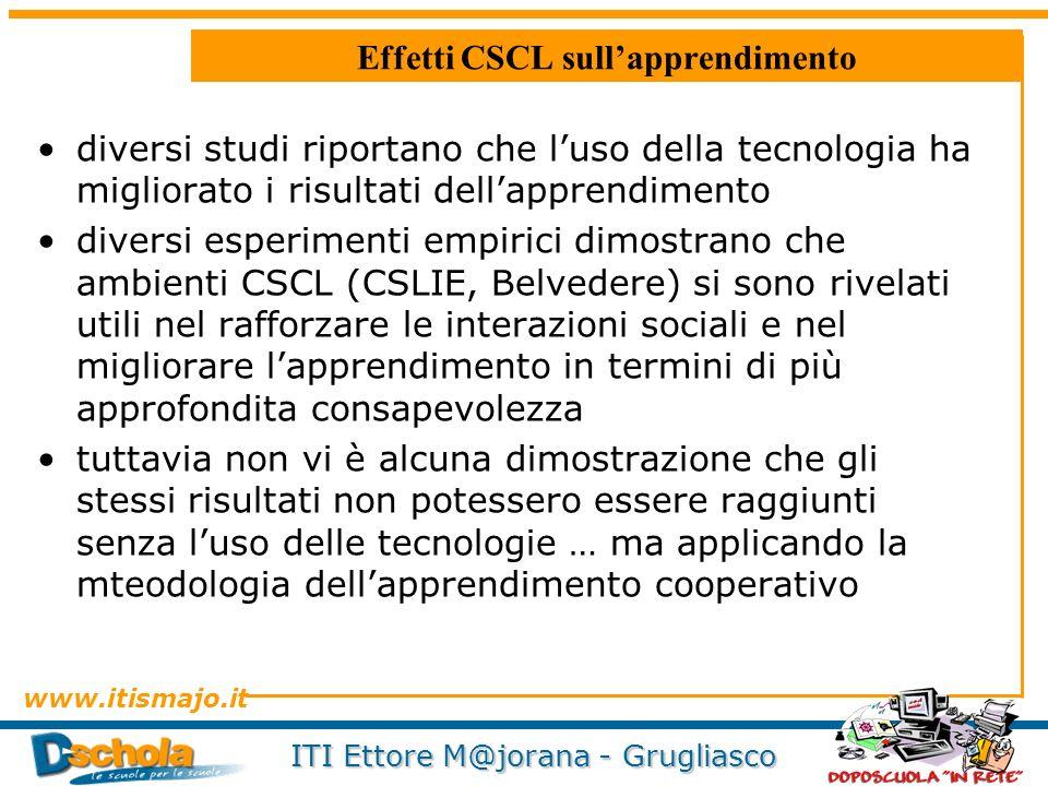 www.itismajo.it ITI Ettore M@jorana - Grugliasco Effetti CSCL sullapprendimento diversi studi riportano che luso della tecnologia ha migliorato i risu