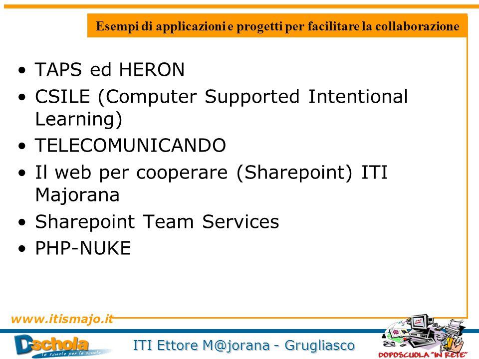 www.itismajo.it ITI Ettore M@jorana - Grugliasco Esempi di applicazioni e progetti per facilitare la collaborazione TAPS ed HERON CSILE (Computer Supp