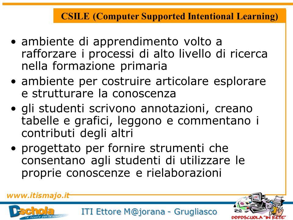 www.itismajo.it ITI Ettore M@jorana - Grugliasco CSILE (Computer Supported Intentional Learning) ambiente di apprendimento volto a rafforzare i proces