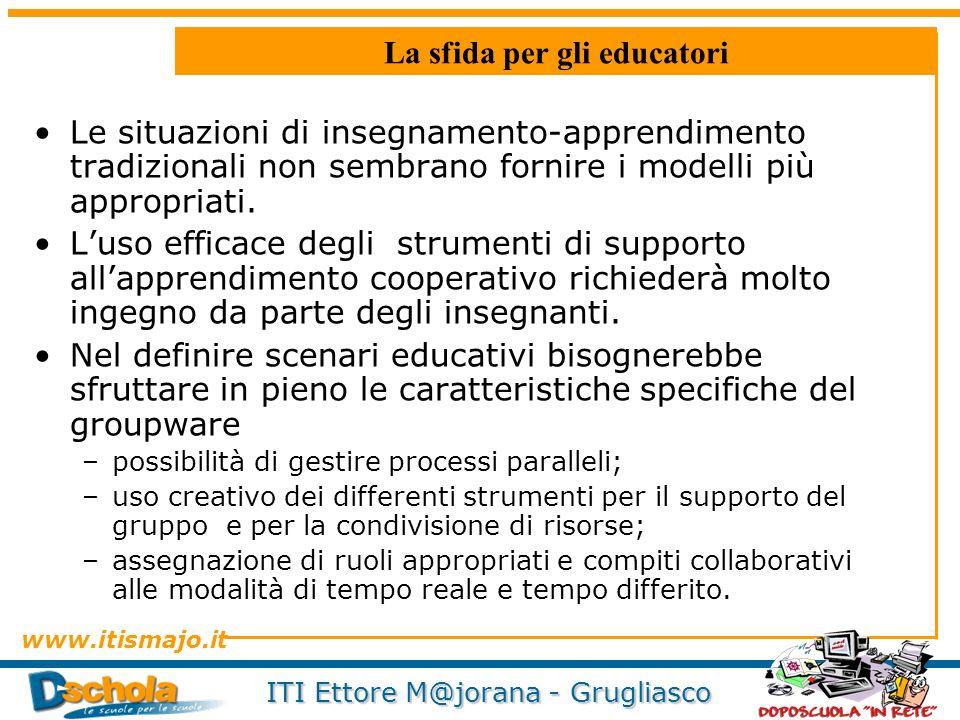www.itismajo.it ITI Ettore M@jorana - Grugliasco La sfida per gli educatori Le situazioni di insegnamento-apprendimento tradizionali non sembrano forn