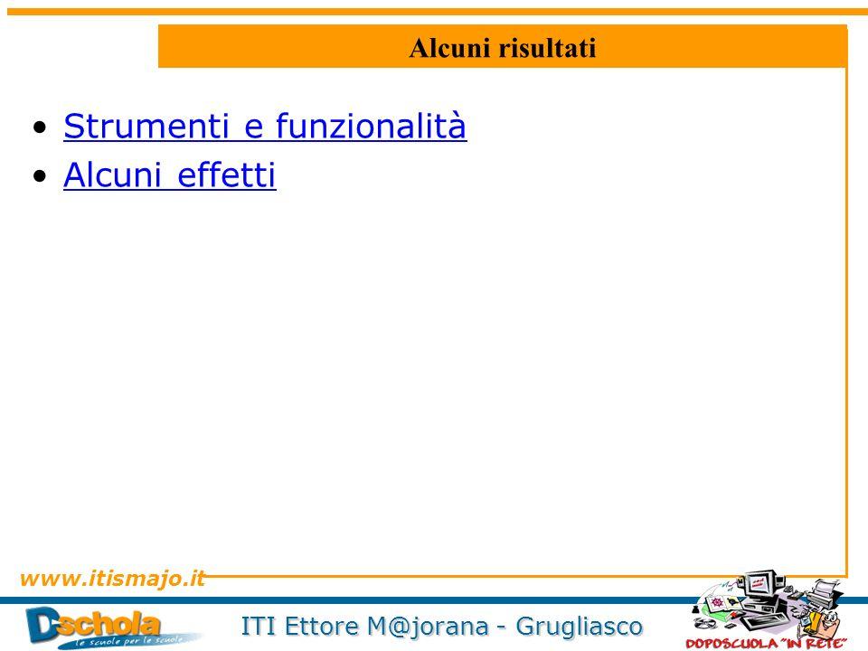www.itismajo.it ITI Ettore M@jorana - Grugliasco Alcuni risultati Strumenti e funzionalità Alcuni effetti