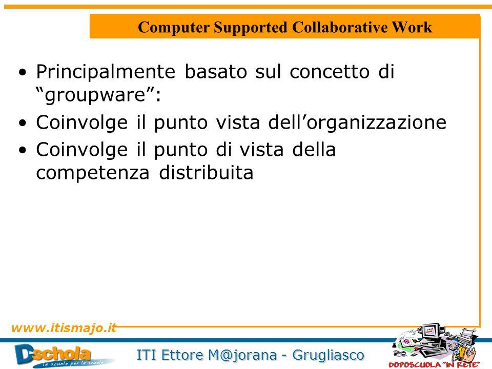 www.itismajo.it ITI Ettore M@jorana - Grugliasco Computer Supported Collaborative Work Principalmente basato sul concetto di groupware: Coinvolge il p