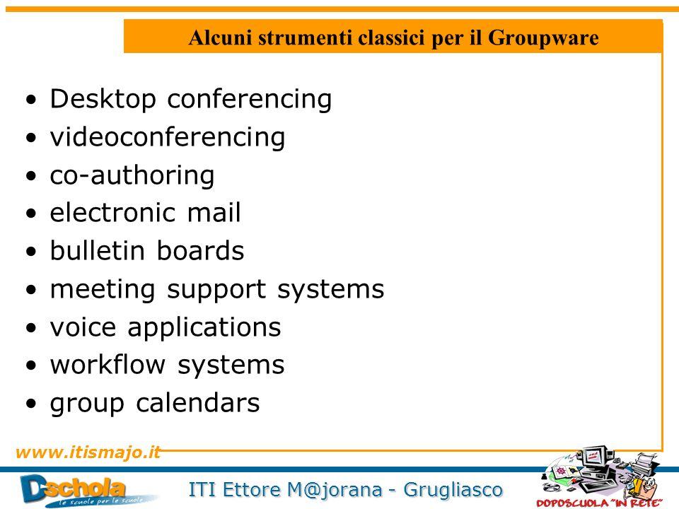 www.itismajo.it ITI Ettore M@jorana - Grugliasco Alcuni strumenti classici per il Groupware Desktop conferencing videoconferencing co-authoring electr