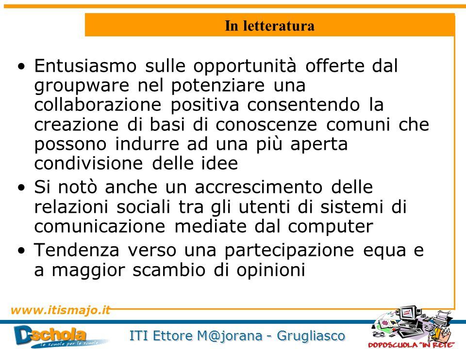 www.itismajo.it ITI Ettore M@jorana - Grugliasco In letteratura Entusiasmo sulle opportunità offerte dal groupware nel potenziare una collaborazione p