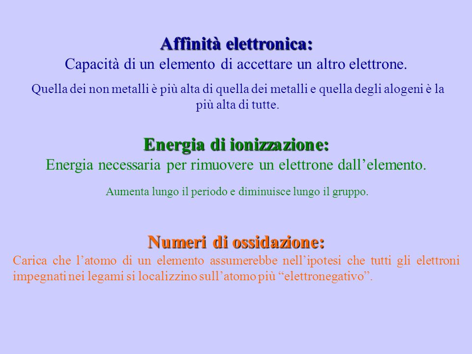 Affinità elettronica di un atomo: A - (g) A(g) + e - (g) H ° = A Energia di ionizzazione di un atomo (o potenziale di ionizzazione): A(g) A + (g) + e - (g) H ° = I 1
