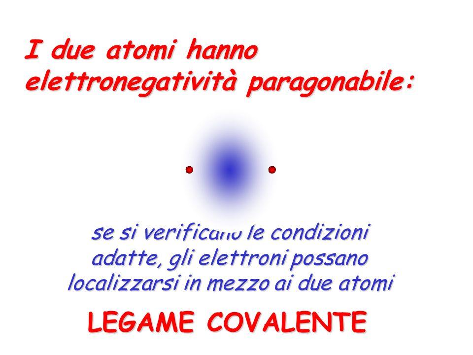 I due atomi hanno elettronegatività diversa, ma non troppo: LEGAME COVALENTE-POLARE gli elettroni si localizzano in mezzo ai due atomi, ma un po spostati verso quello più elettronegativo