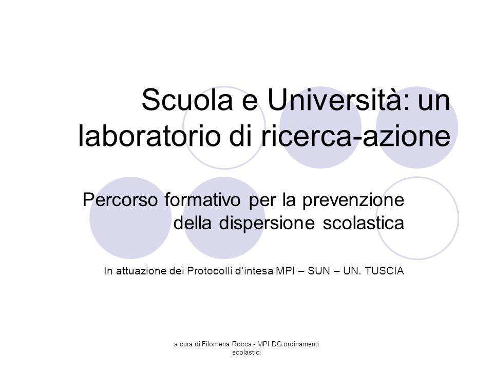 a cura di Filomena Rocca - MPI DG ordinamenti scolastici Scuola e Università: un laboratorio di ricerca-azione Percorso formativo per la prevenzione d