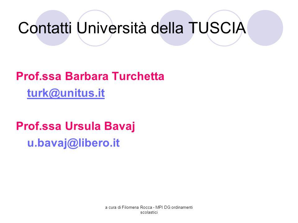 a cura di Filomena Rocca - MPI DG ordinamenti scolastici Contatti Università della TUSCIA Prof.ssa Barbara Turchetta turk@unitus.it Prof.ssa Ursula Ba