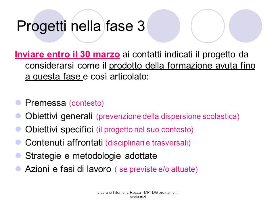 a cura di Filomena Rocca - MPI DG ordinamenti scolastici Progetti nella fase 3 Inviare entro il 30 marzo ai contatti indicati il progetto da considera