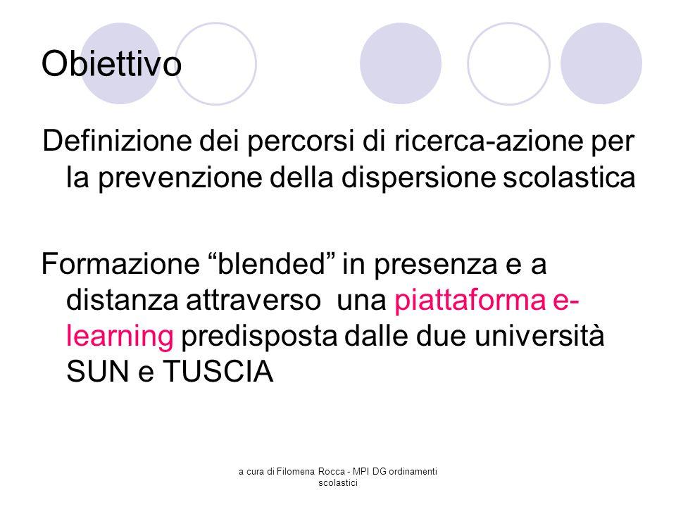 a cura di Filomena Rocca - MPI DG ordinamenti scolastici Obiettivo Definizione dei percorsi di ricerca-azione per la prevenzione della dispersione sco