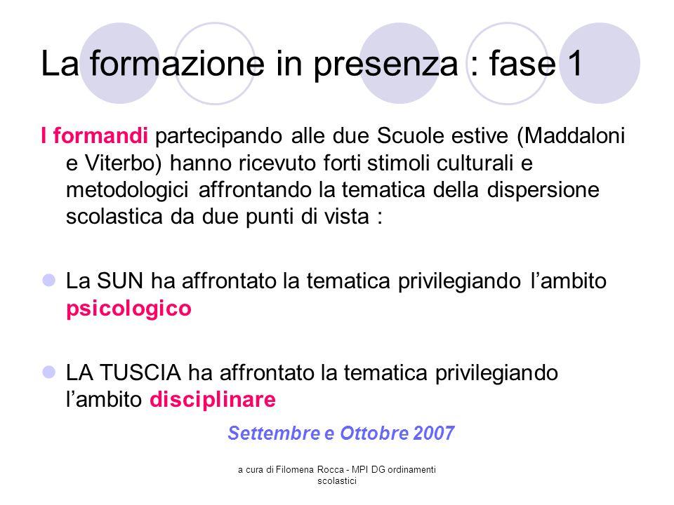 a cura di Filomena Rocca - MPI DG ordinamenti scolastici La formazione in presenza : fase 1 I formandi partecipando alle due Scuole estive (Maddaloni