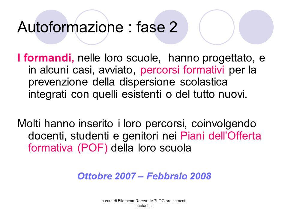 a cura di Filomena Rocca - MPI DG ordinamenti scolastici Autoformazione : fase 2 I formandi, nelle loro scuole, hanno progettato, e in alcuni casi, av