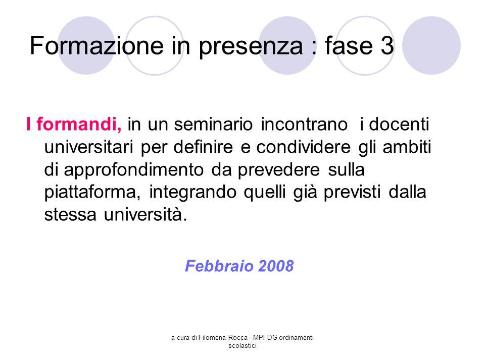 a cura di Filomena Rocca - MPI DG ordinamenti scolastici Formazione in presenza : fase 3 I formandi, in un seminario incontrano i docenti universitari