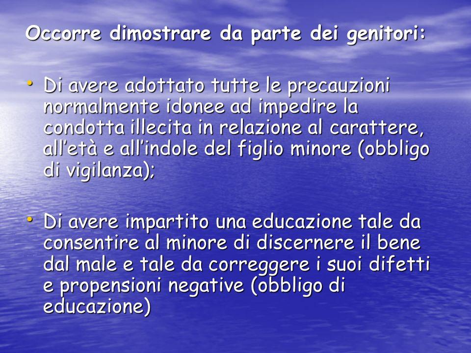 Occorre dimostrare da parte dei genitori: Di avere adottato tutte le precauzioni normalmente idonee ad impedire la condotta illecita in relazione al c