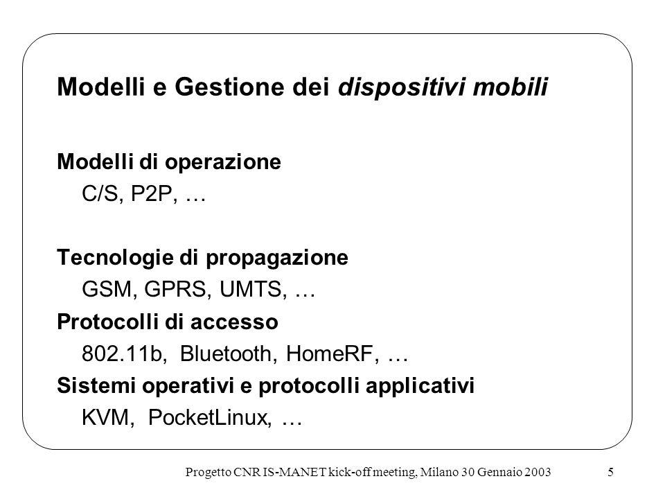 Progetto CNR IS-MANET kick-off meeting, Milano 30 Gennaio 20035 Modelli e Gestione dei dispositivi mobili Modelli di operazione C/S, P2P, … Tecnologie