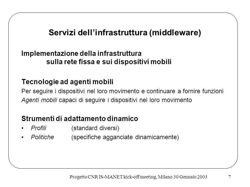 Progetto CNR IS-MANET kick-off meeting, Milano 30 Gennaio 20037 Implementazione della infrastruttura sulla rete fissa e sui dispositivi mobili Tecnolo