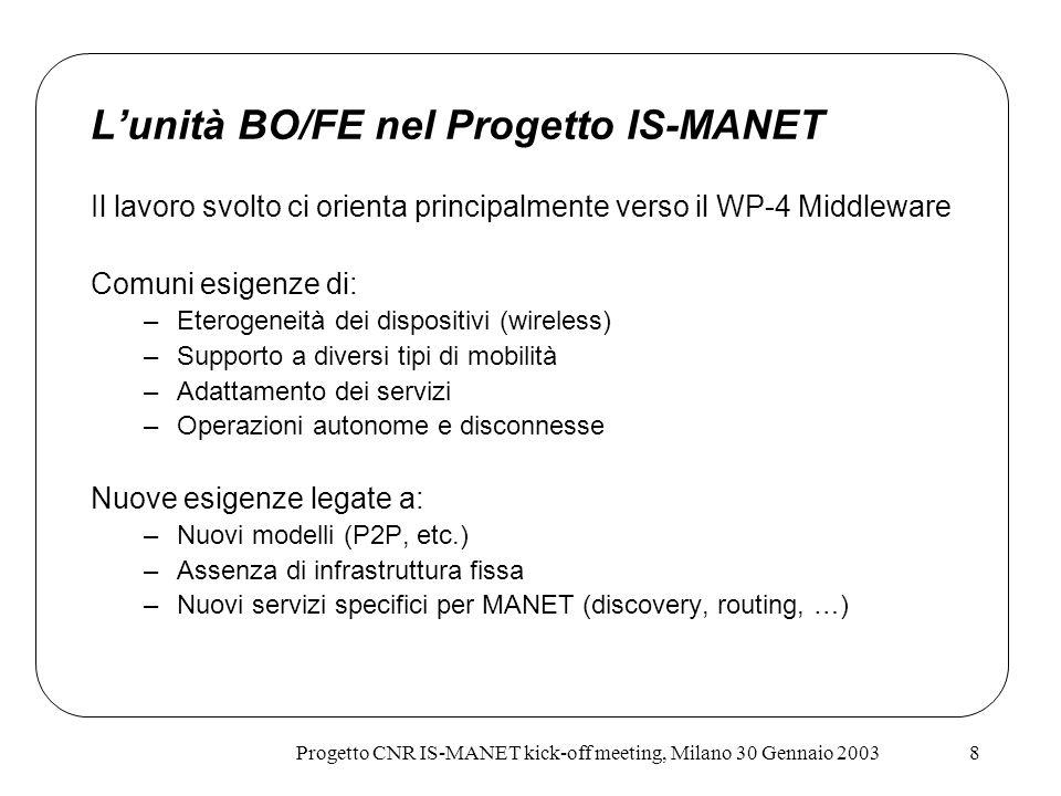 Progetto CNR IS-MANET kick-off meeting, Milano 30 Gennaio 20038 Lunità BO/FE nel Progetto IS-MANET Il lavoro svolto ci orienta principalmente verso il