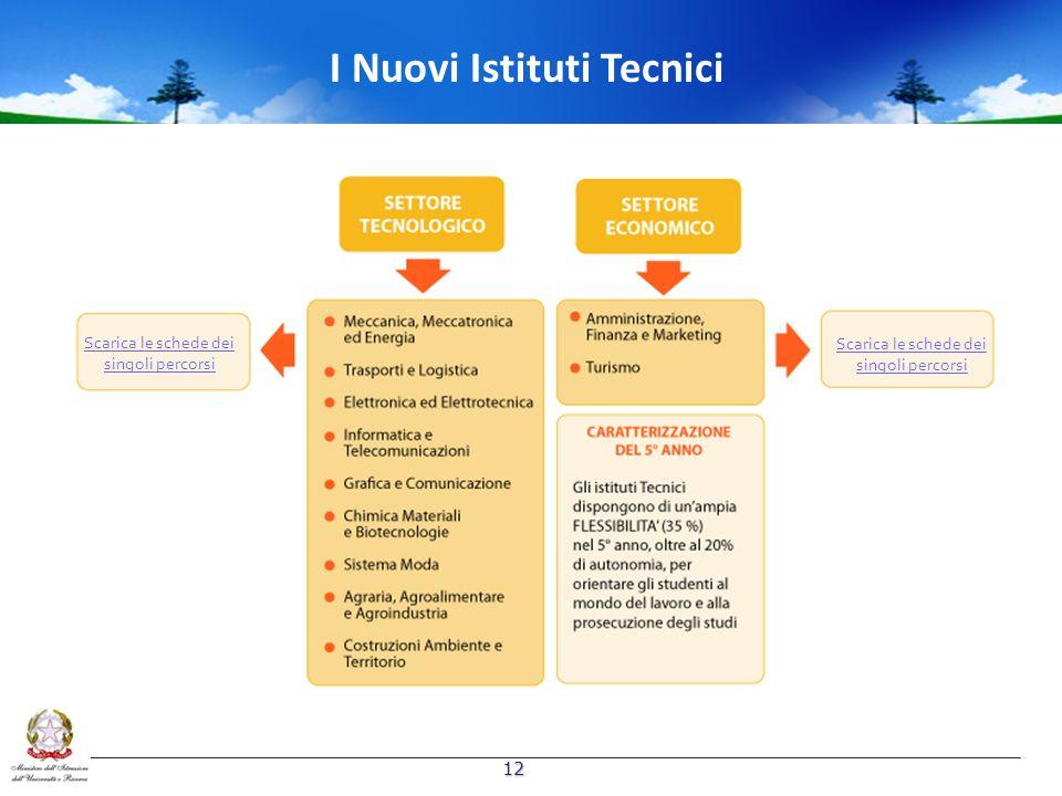 I Nuovi Istituti Tecnici Scarica le schede dei singoli percorsi Scarica le schede dei singoli percorsi 12