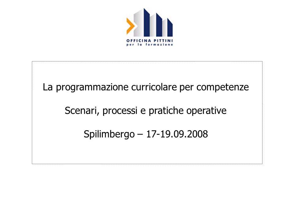 La programmazione curricolare per competenze Scenari, processi e pratiche operative Spilimbergo – 17-19.09.2008