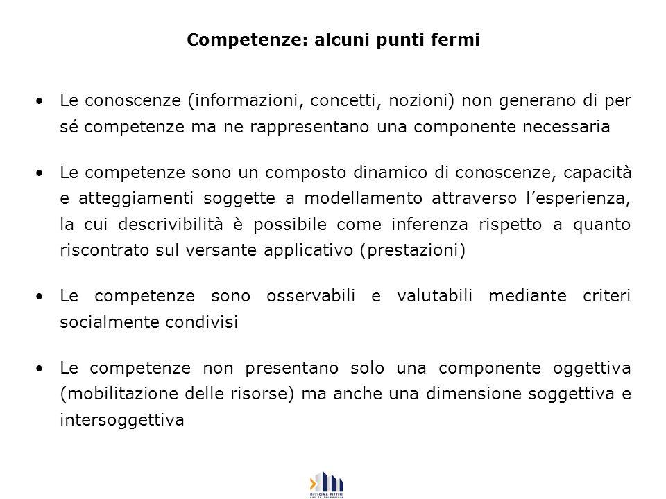Competenze: alcuni punti fermi Le conoscenze (informazioni, concetti, nozioni) non generano di per sé competenze ma ne rappresentano una componente ne