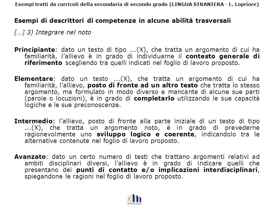 Esempi di descrittori di competenze in alcune abilità trasversali […] 3) Integrare nel noto Principiante: dato un testo di tipo...(X), che tratta un a