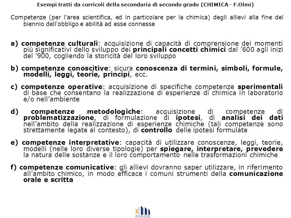 Esempi tratti da curricoli della secondaria di secondo grado (CHIMICA - F.Olmi) Competenze (per l'area scientifica, ed in particolare per la chimica)