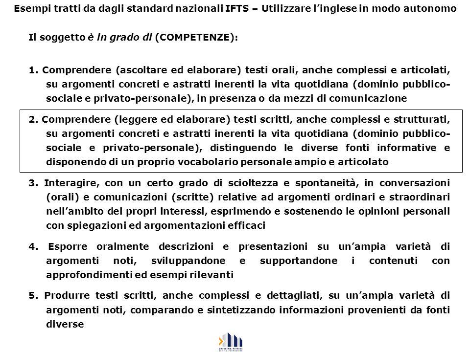 Esempi tratti da dagli standard nazionali IFTS – Utilizzare linglese in modo autonomo Il soggetto è in grado di (COMPETENZE): 1. Comprendere (ascoltar