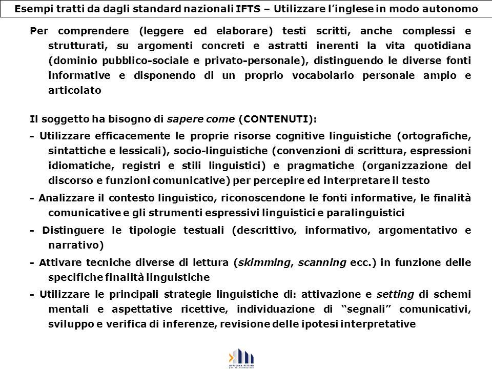 Esempi tratti da dagli standard nazionali IFTS – Utilizzare linglese in modo autonomo Per comprendere (leggere ed elaborare) testi scritti, anche comp