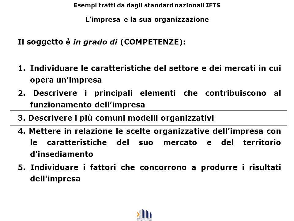 Esempi tratti da dagli standard nazionali IFTS Limpresa e la sua organizzazione Il soggetto è in grado di (COMPETENZE): 1.Individuare le caratteristic