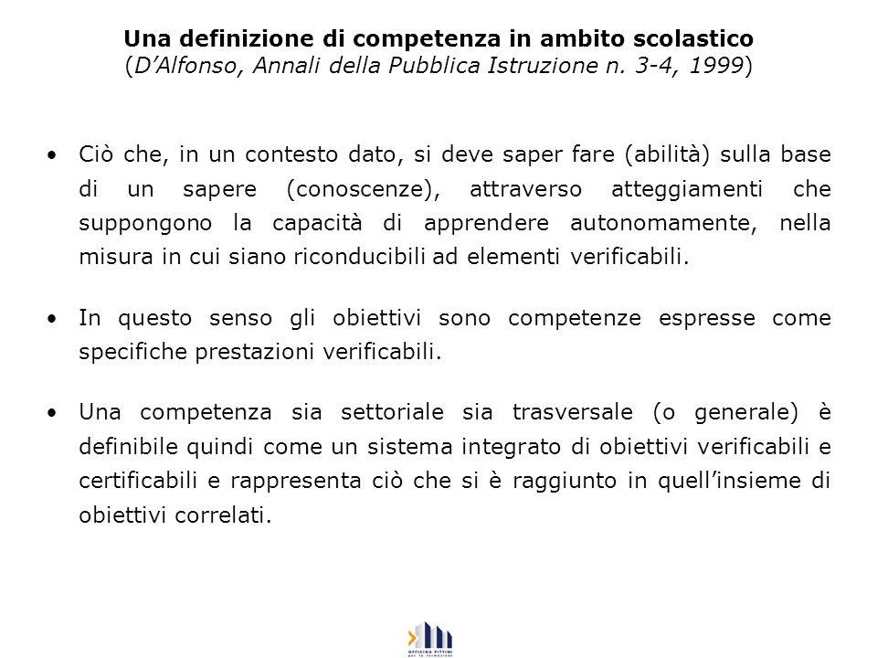 Una definizione di competenza in ambito scolastico (DAlfonso, Annali della Pubblica Istruzione n. 3-4, 1999) Ciò che, in un contesto dato, si deve sap
