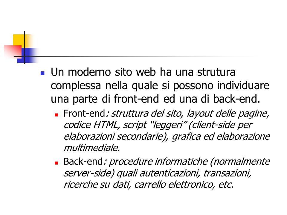 Un moderno sito web ha una strutura complessa nella quale si possono individuare una parte di front-end ed una di back-end. Front-end: struttura del s
