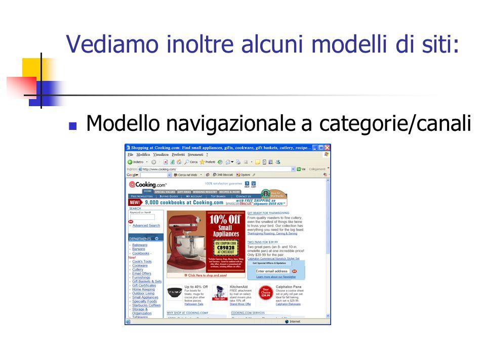 Vediamo inoltre alcuni modelli di siti: Modello navigazionale a categorie/canali