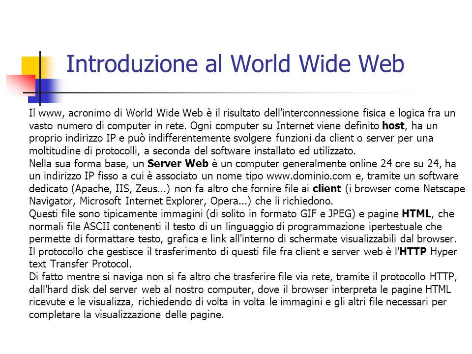Introduzione al World Wide Web Il www, acronimo di World Wide Web è il risultato dell'interconnessione fisica e logica fra un vasto numero di computer